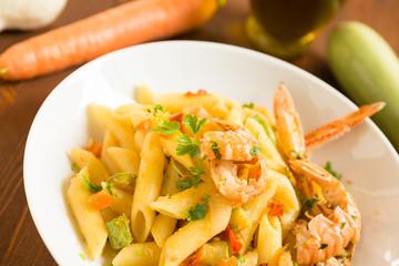 Penne con aragostelle,zucchine,carota e bottarga, cucina sarda