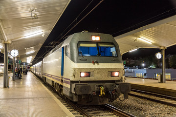 A night train in Girona station - Spain