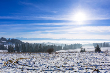 Panorama of Tatra mountains in winter time, Poland