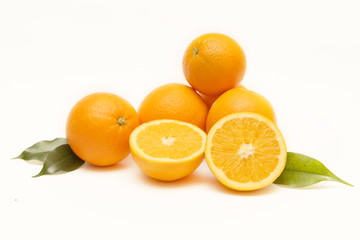 Group of oranges isolated on white background