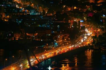 Traffic over bridge during night time
