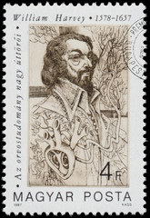 Stamp printed in Hungary shows William Harvey