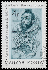 Stamp printed in Hungary shows Ambroise Pare