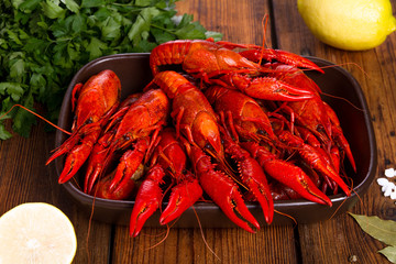 Crayfish on a wooden table