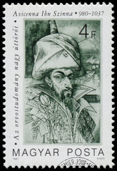Stamp printed in Hungary shows Avicenna Ibn Szinna