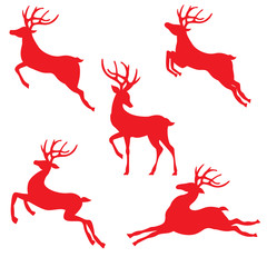 Red reindeer silhouettes pack