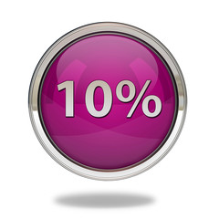 Ten percent pointer icon on white background