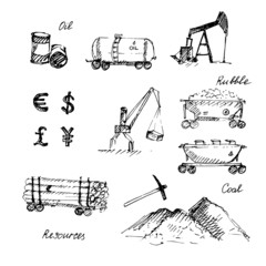 Hand drawn resource extraction sketch icons set.