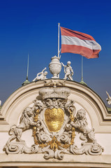 Upper Palace with austrian flag in Belvedere, Vienna, Austria