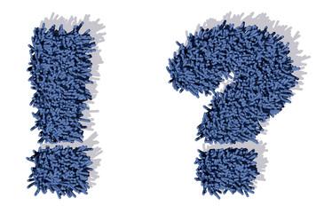 punto interrogativo tappeto blu 3d, isolata su sfondo bianco