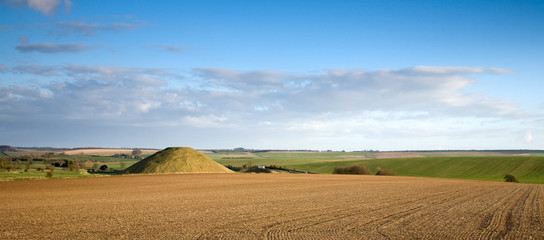 Neolithic site of Silbury Hill, near Avebury in Wiltshire, UK
