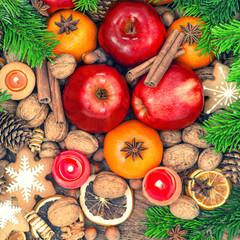 Christmas food backdround. Apples, mandarin orange, cookies