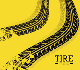 Tire Design over yellow background vector illustration