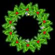 Christmas wreath on black