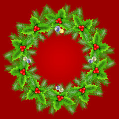 Christmas wreath over red