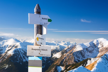 Tatra mountains signpost on Kasprowy Wierch, Poland