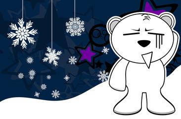 polar teddy bear cartoon xmas background