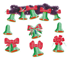 Set of green Christmas bells vector
