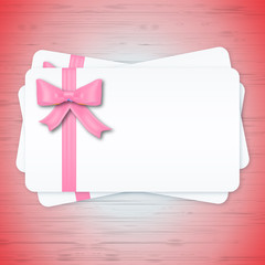 Gift cards with color ribbon