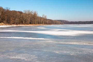 Mississippi River at winter, Minnesota, USA