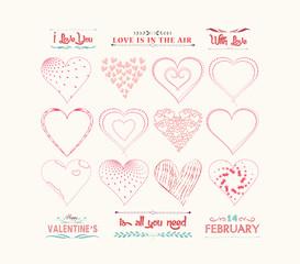 set of valentine hearts for design