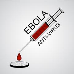 Syringe Ebola anti virus with drop into petri dish vector illust