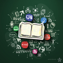 Social network collage with icons on blackboard
