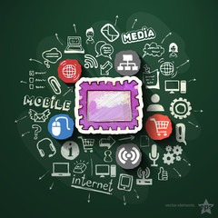 Mobile media collage with icons on blackboard