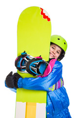 Smiling girl with snowboard