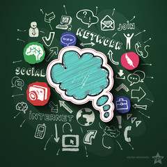 Social networking collage with icons on blackboard