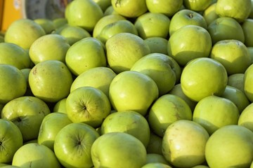 Green apples in the market
