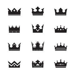 Set of black vector crowns