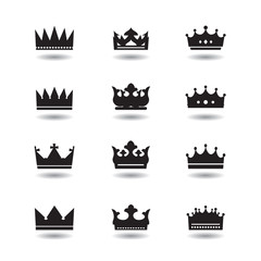 Set of vector black crowns