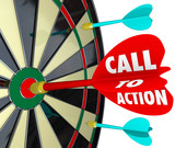 Fototapety Call to Action Dart Board Marketing Advertising Direct Response