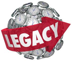 Legacy Word Arrow Clock Spheres Lasting Impression Time Memory f