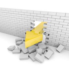 Huge arrow breaks a gray brick wall