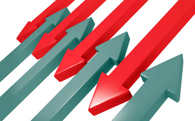 Red and black arrows moving towards each other