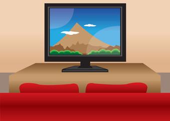 TV screen with sofa home interior vector illustration