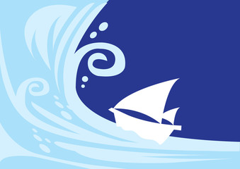 Big Tsunami wave with small vulnerable sailing boat