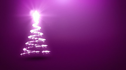 Christmas tree animation with purple background