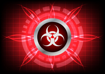 modern technology biohazard  button and light effect on red back