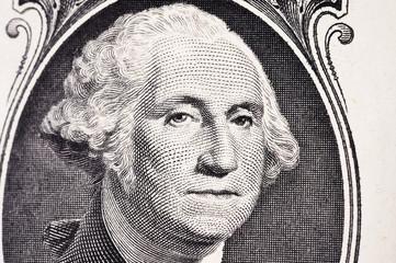 portrait of president Washington on an one dollar bill