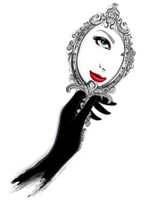 Woman with black gloves looking at a mirror
