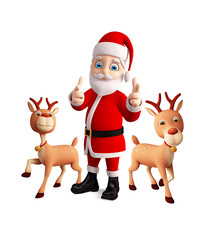 Santa and Reindeer celebrate christmas