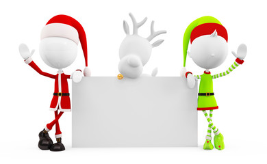 Santa and Elves with presenting board