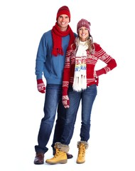 Happy couple in winter clothing