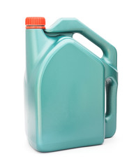 Green plastic gallon with red lid ,  jerry can