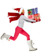 Happy running Woman with Xmas gifts