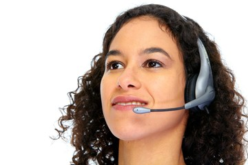 Operator woman with headsets