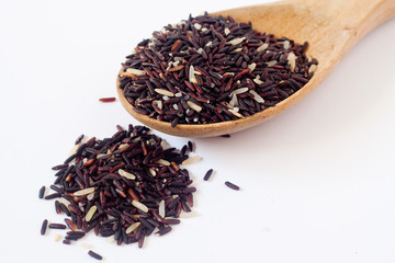 Closeup of raw purple Riceberry rice, it is a crossbred between